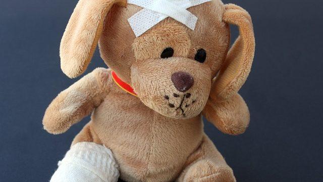 怪我した犬のぬいぐるみの画像